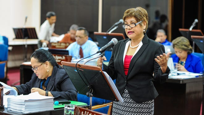 Speaker Judith Won Pat discusses Bill 175 as senators convene for session at the Guam Legislature in Hagatna on Tuesday, Oct. 20. Bill 175 addresses an act  to establish the designation of available Chamorro Land Trust Commission land for commercial use.