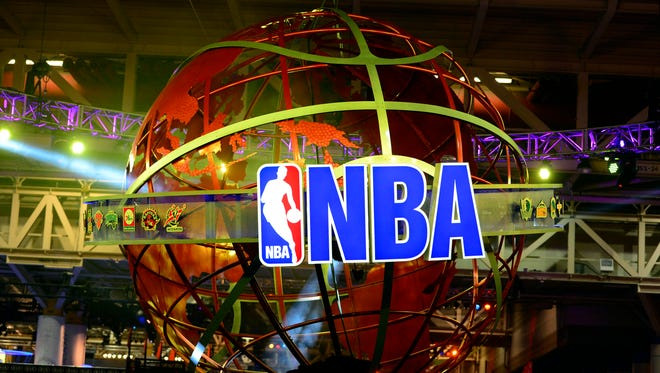 A view of the NBA logo at the NBA All Star Jam Session at the Ernest N. Morial Convention Center.