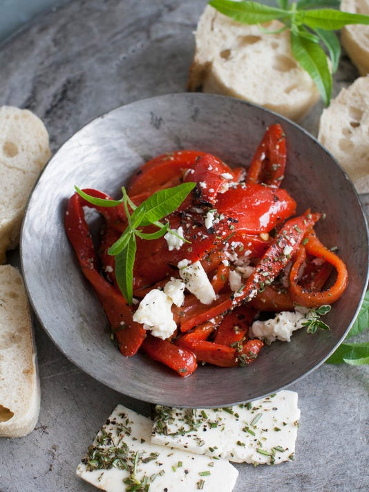 Roasted red peppers with feta
