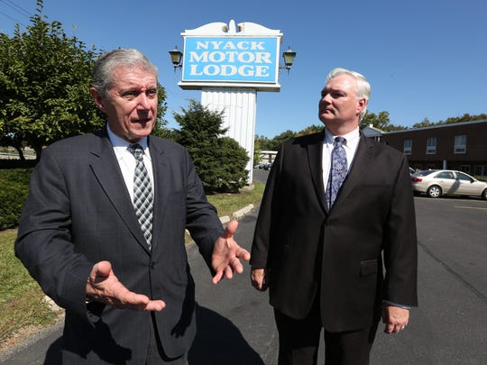 Rockland District Attorney Thomas Zugibe, left, and County Attorney Thomas Humbach are seeking court action to fine or close the Nyack Motor Lodge in West Nyack Sept. 13, 2017.