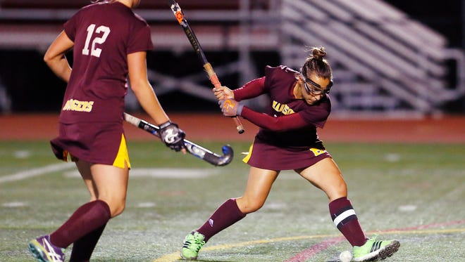 Madison's Elizabeth Romano shoots and scores off a corner, her second goal vs. Morristown in the Morris County Tournament field hockey final at Boonton High School. The Dodgers beat the defending champions 8-0. October 17, 2017. Boonton, New Jersey