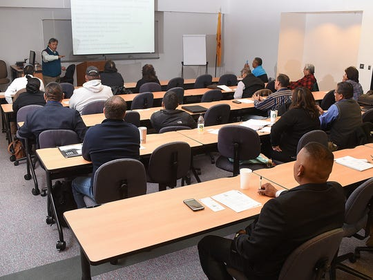Business owners attend a meeting of the Dineh Chamber of Commerce on Saturday at the San Juan College Quality Center for Business.