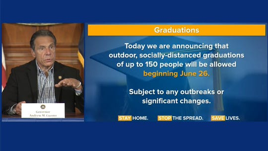 Gov. Andrew Cuomo announced Sunday, June 7, 2020, that graduations can take place in person starting June 26.