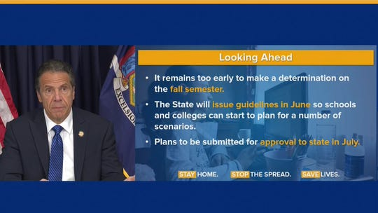 A chart from Gov. Andrew Cuomo shows the plan May 21, 2020, on whether schools will reopen in the fall.