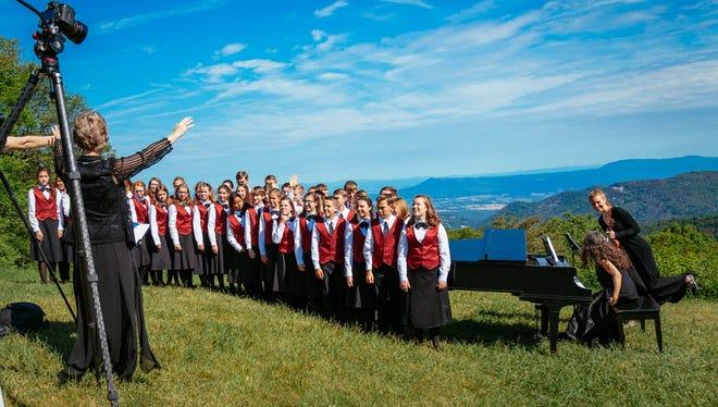 "The Shenandoah Valley Children's Choir singing ""Shenandoah"" at Shenandoah National Park on June 20 in celebration of the National Park Service's 100th anniversary."
