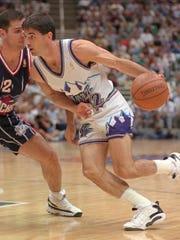 John Stockton plays against the Houston Rockets.