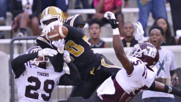 Alabama State senior receiver DeMario Bell caught a