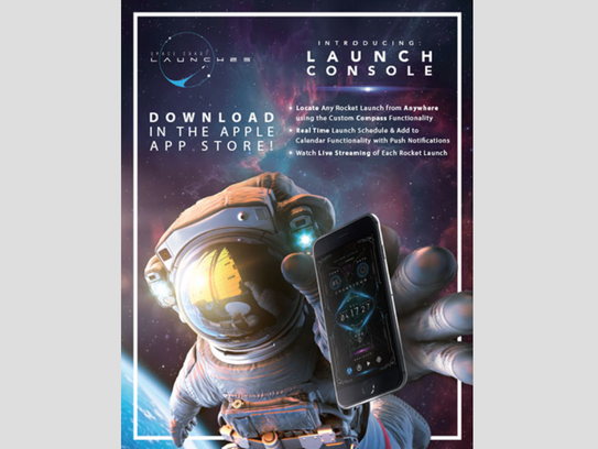"This is part of the Space Coast Office of Tourism promotion for its recently introduced ""Launch Console"" app."