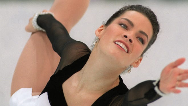 HAMAR, NORWAY - FEBRUARY 23:  Figure skater Nancy Kerrigan of the United States performs her technical program 23 February 1994 in Hamar, near Lillehammer, at the XVIIth Winter Olympic Games.  (Photo credit should read VINCENT AMALVY/AFP/Getty Images)