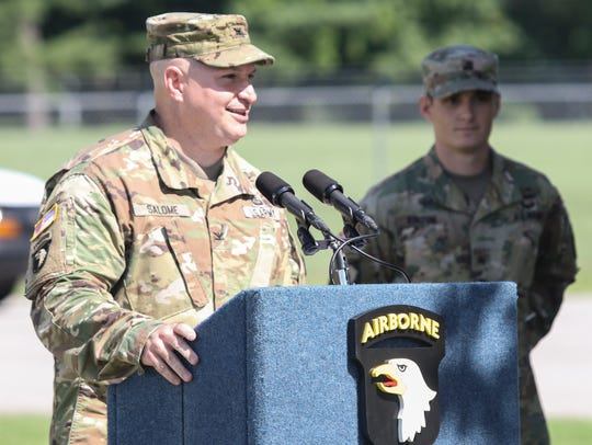 Garrison commander Col. Rob Salome addresses the crowd