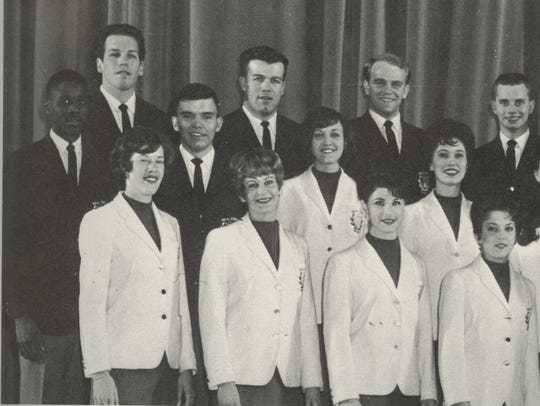 Jan Richard (bottom left) stands among the original