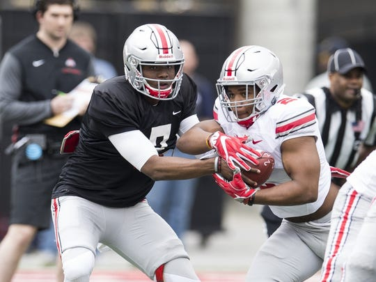 Quarterback Dwayne Haskins, left, and running back J.K. Dobbins (both sophomores) should be the offensive leaders for an Ohio State team with high expectations.
