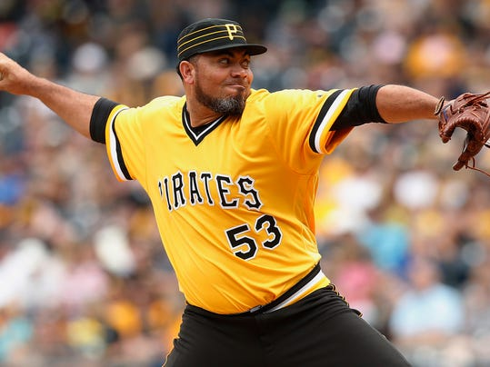 FILE - In this Aug. 6, 2017, file photo, Pittsburgh Pirates relief pitcher Joaquin Benoit throws in the ninth inning against the San Diego Padres during a baseball game in Pittsburgh. Benoit and the Washington Nationals have agreed in principle to a major league contract that will pay the 40-year-old reliever $1 million for the 2018 season, according to a person with knowledge of the deal. (AP Photo/Jared Wickerham, File)