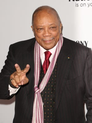 Quincy Jones arrives at the 2014 Ebony Power 100 Gala at The Avalon Hollywood on Nov. 19, 2014 in Los Angeles. Jones was recognized with a lifetime achievement award for his philanthropic efforts and six-decade career. He's worked with the greats, from Frank Sinatra to Michael Jackson. He's scored feature films —38 of them — and earned seven Academy Award nominations.