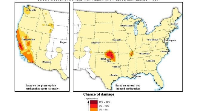In this image provided by the U.S. Geological Survey, the USGS's 2107 earthquake forecast map. Federal scientists forecast that Oklahoma will continue to have the nation's biggest man-made earthquake problem but it probably won't be as shaky as recent years. In its annual national earthquake outlook, the USGS reported Wednesday, March 1, 2017, that a large portion of Oklahoma and parts of central California have the highest risk for a damaging quake this year: between 5 and 12 percent.  The outlook is published in the journal Seismological Research Letters.      (U.S. Geological Survey via AP)