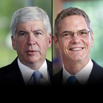 Gubernatorial candidates Rick Snyder, left, and Mark Schauer, right.