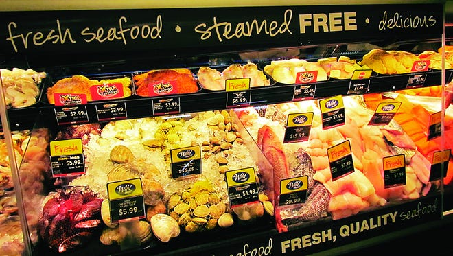 Up to 75 varieties of fresh seafood, including signature items like shrimp, snow crab and salmon, stock the service case at Acme Markets.