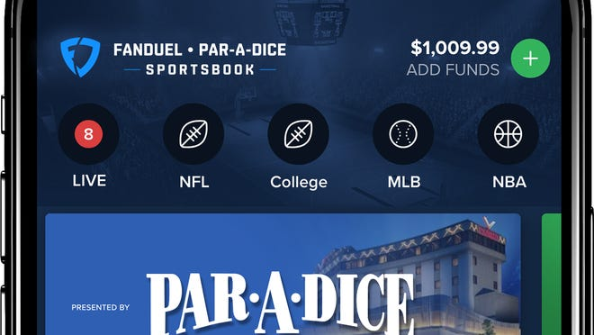 FanDuel's new mobile app for its sports betting venture partnered with Par-A-Dice Casino in East Peoria.