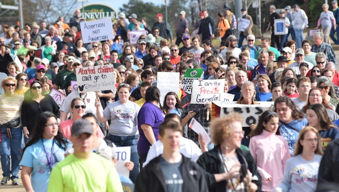 The Louisiana Life March heads from Louisiana College in Pineville to Alexandria.  About 1,200 people marched in protest of abortion during the walk, which started at Louisiana College Saturday morning and ended at the Levee Park Amphitheater in downtown Alexandria.