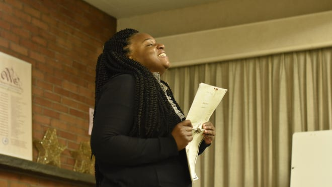 """Qiana Watson rehearses her role in """"for colored girls who have considered suicide/when the rainbow is enuf,"""" which will be staged Friday and Saturday at KNOW Theatre."""