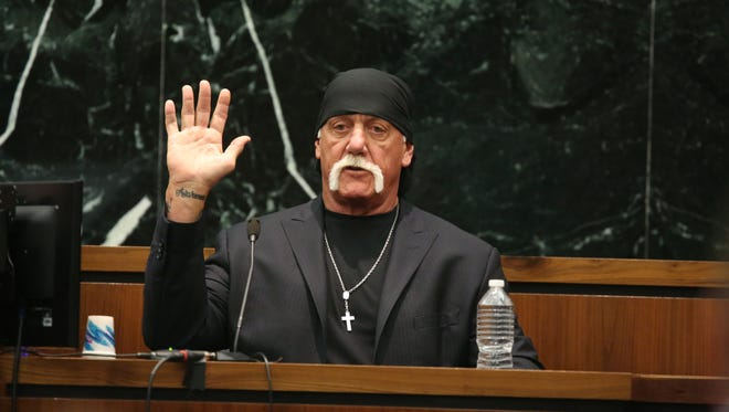 Terry Bollea, aka Hulk Hogan, takes the oath in court during his trial against Gawker Media at the Pinellas County Courthouse on March 8, 2016 in St. Petersburg, Florida.