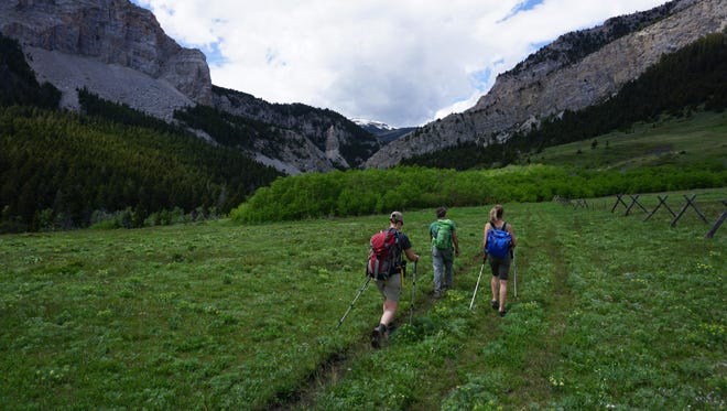 Three people hiking in the area of Willow Creek.