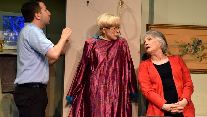"""In Theatre Artists Studio's """"Ripcord,"""" retirement-home employee Scotty (Nathan Spector) does his best to keep two residents (Judy Rollings and Patti Suarez) from killing each other."""