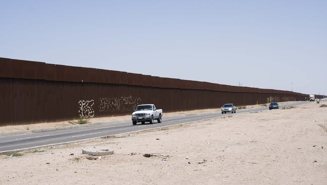 A portion of the border fence in Mexicali, the capital city of the Mexican state of Baja California.