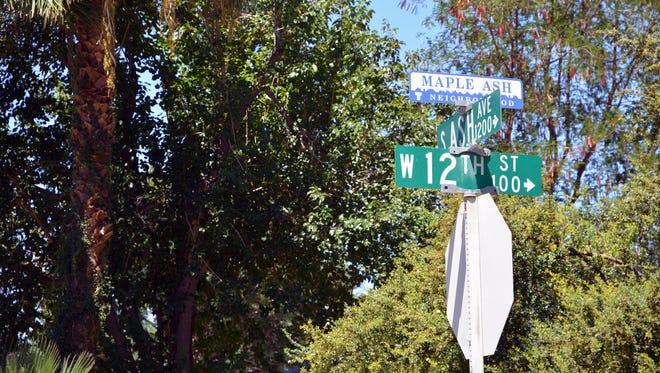 A sign marking the historic Tempe neighborhood called the Maple-Ash neighborhood.
