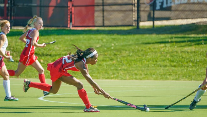 Krysten Mayers of Parsippany has broken Cornell field hockey's career records for goals and points.