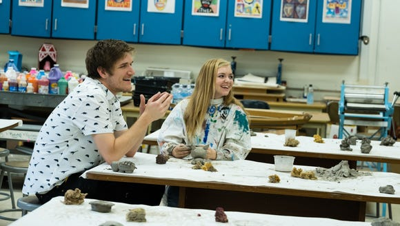 Bo Burnham, left, and Elsie Fisher on the set of 'Eighth