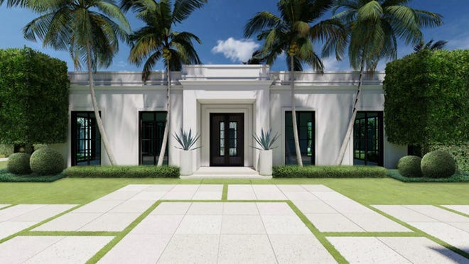 A recently approved design for a lot at 1 Wells Circle has contemporary architecture with clean lines and a crisp silhouette inspired by the Palm Beach Regency style, according to its design team.