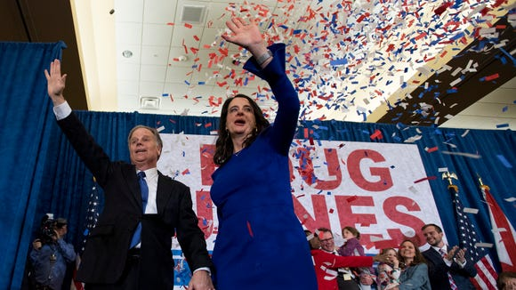 U.S. Senator elect Doug Jones greets supporters as he claims victory at his watch party in Birmingham, Ala. on Tuesday December 12, 2017.