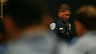 San Francisco Police Chief Bill Scott looks on during a news conference at the San Francisco Police Academy on May 15, 2018.