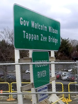 Sign on the Gov. Malcom Wilson Tappan Zee Bridge Dec. 18, 2015.