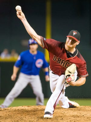 Arizona Diamondbacks pitcher Shelby Miller throws against the Chicago Cubs at Chase Field in Phoenix on April 10, 2016.