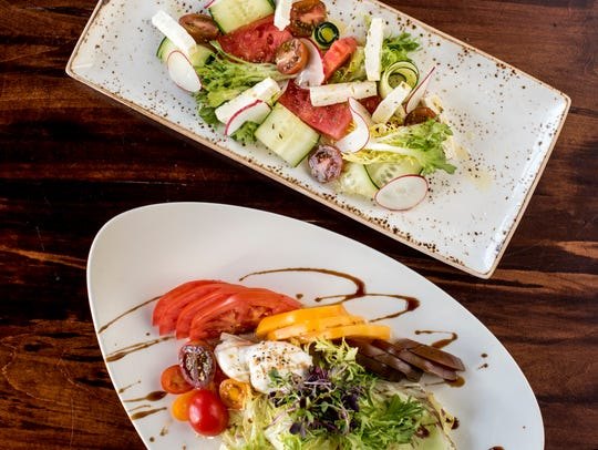 Greek Watermelon Salad and Heirloom Tomato Salad with