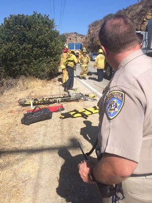 A driver was rescued after his vehicle went over the side of the roadway Thursday afternoon in the Box Canyon area near Simi Valley, officials said.