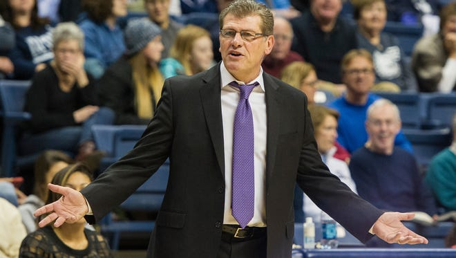 UConn head coach Geno Auriemma gestures to officials during a game against South Florida on Jan. 18.