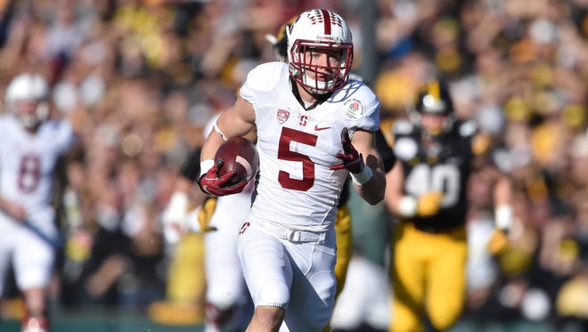 Jan 1, 2016; Pasadena, CA, USA; Stanford running back Christian McCaffrey set a NCAA record last season with 3.864 yards, and was runner-up for the Heisman Trophy.