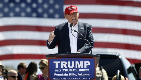 Donald Trump speaks at a campaign rally in Fountain