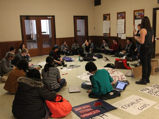 Purdue University students occupy Hovde Hall on Monday,