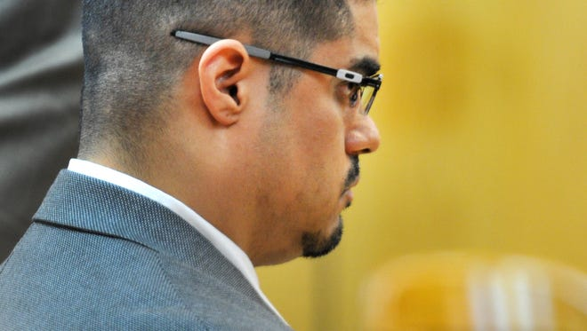 Juan Antonio Rodriguez, 35, sits in the 89th District Court Monday as jurors exit the courtroom. Rodriguez is on trial for two counts of aggravated sexual assault of a child and one count of sexual assault of a child.
