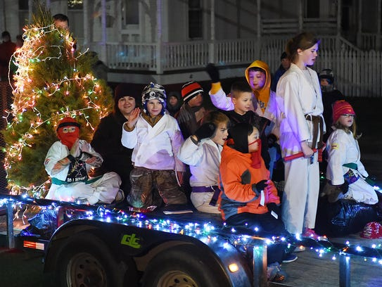 The annual Lewes Christmas Parade makes its way through