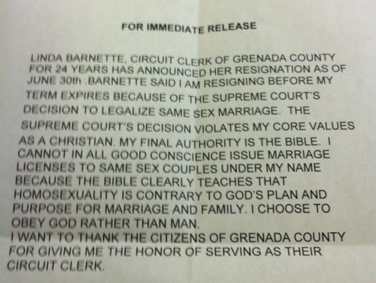 A letter from Linda Barnette to the Board of Supervisors