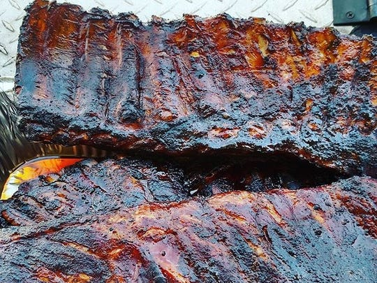 Racks on racks on racks, of ribs, from the Instagram feed for Simply Southern Catering.