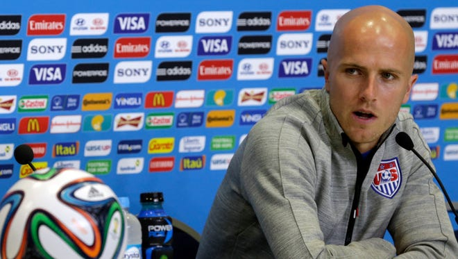 United States' Michael Bradley attends a press conference before an official training session the day before the group G World Cup soccer match between Ghana and the United States at the Arena das Dunas in Natal, Brazil, Sunday, June 15, 2014.