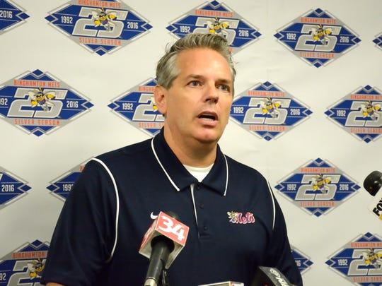 John Hughes announces his new ownership of the Binghamton Mets, finalized Dec. 23.