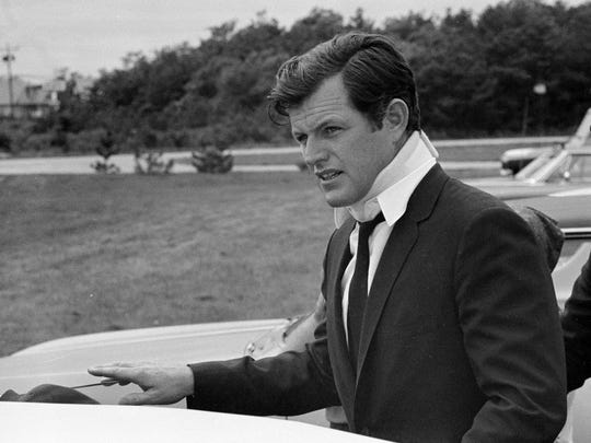 This July 22, 1969 file photo shows U.S. Sen Edward Kennedy, D-Mass., arriving back at his home in Hyannis Port, Mass., after attending the funeral of Mary Jo Kopechne in Pennsylvania.