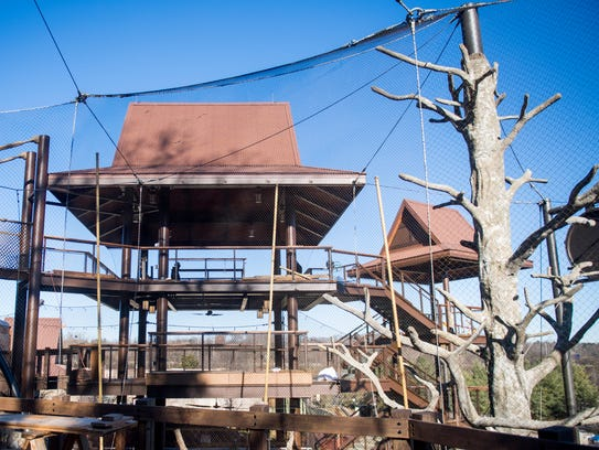 The treehouse, left, in the Gibbon Trails portion of Asian Trek at Zoo Knoxville.